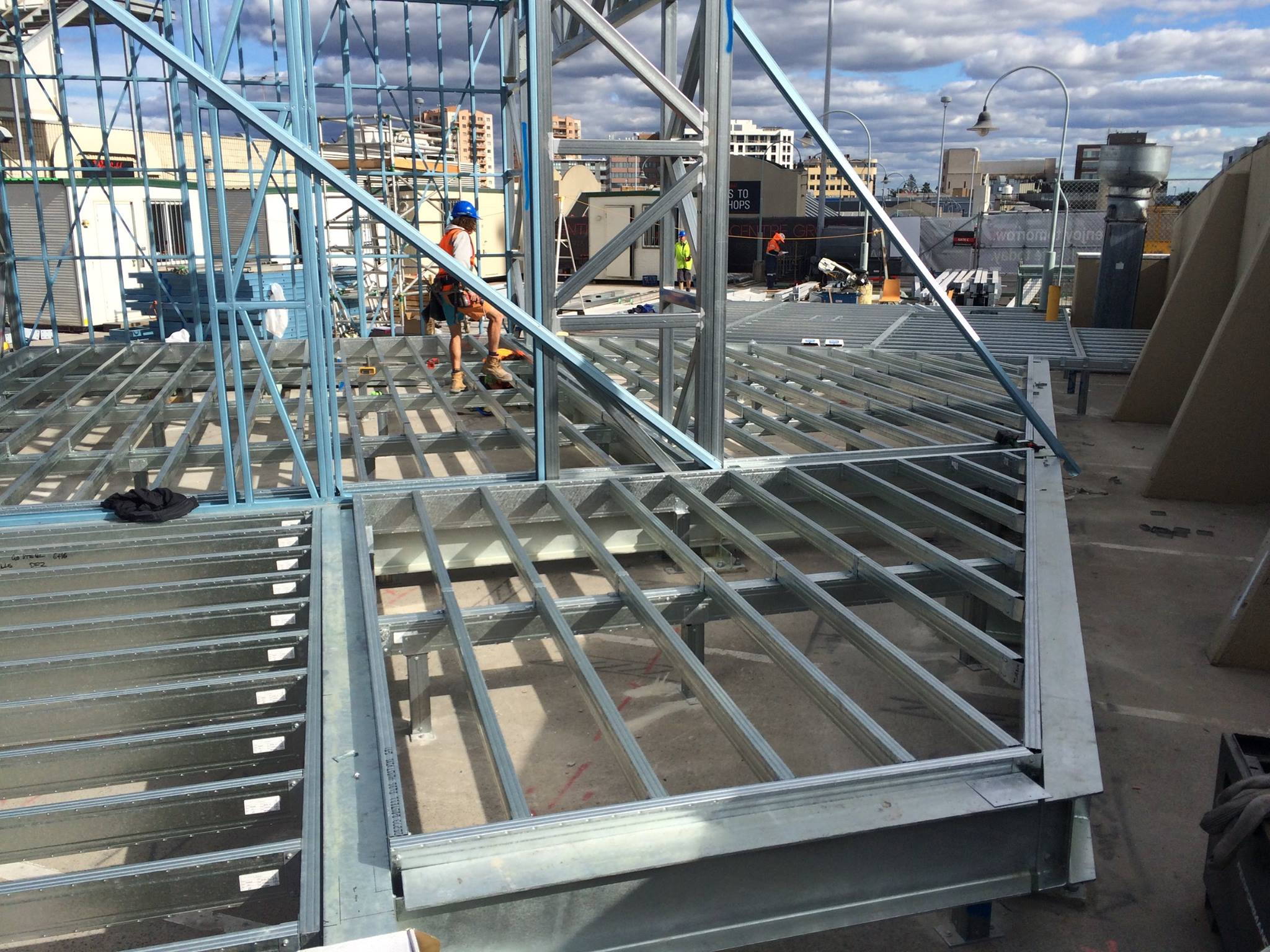 Boxspan bearers and joists used in these commercial project steelframes on the rooftop alfresco dining area at Hurstville Westfield.