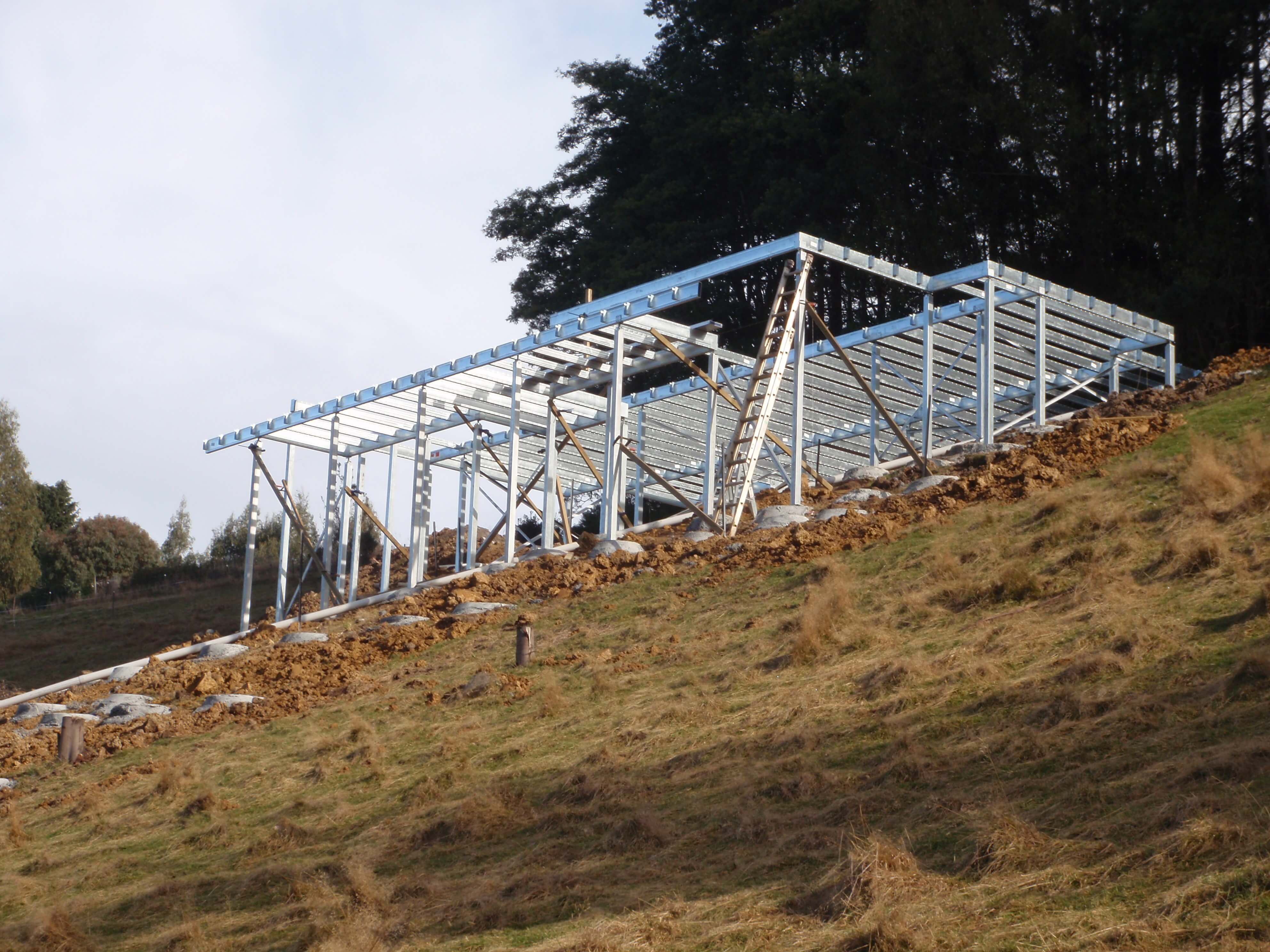 Boxspan steel floor frame and Ezipier stumps on a steeply sloping site