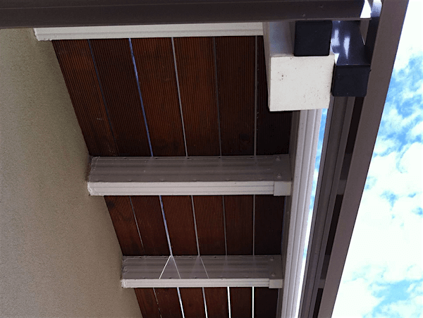 Powder-coated Boxspan balcony frame with cantilever and decking boards in block of units