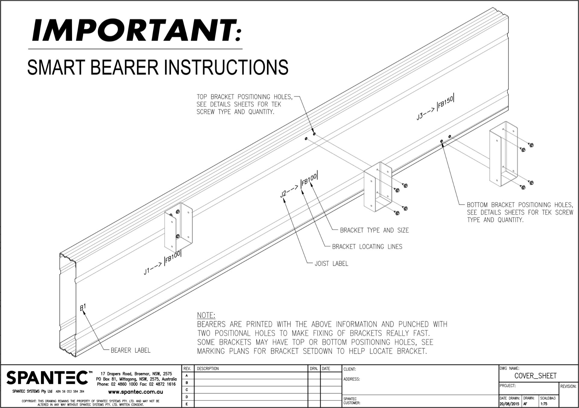 A drawing of a Boxspan smart bearer, pre-punched holes at bracket locations where steeljoists slot in, and bracket connection example.