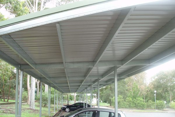 Boxspan commercial covered walkway awning frame