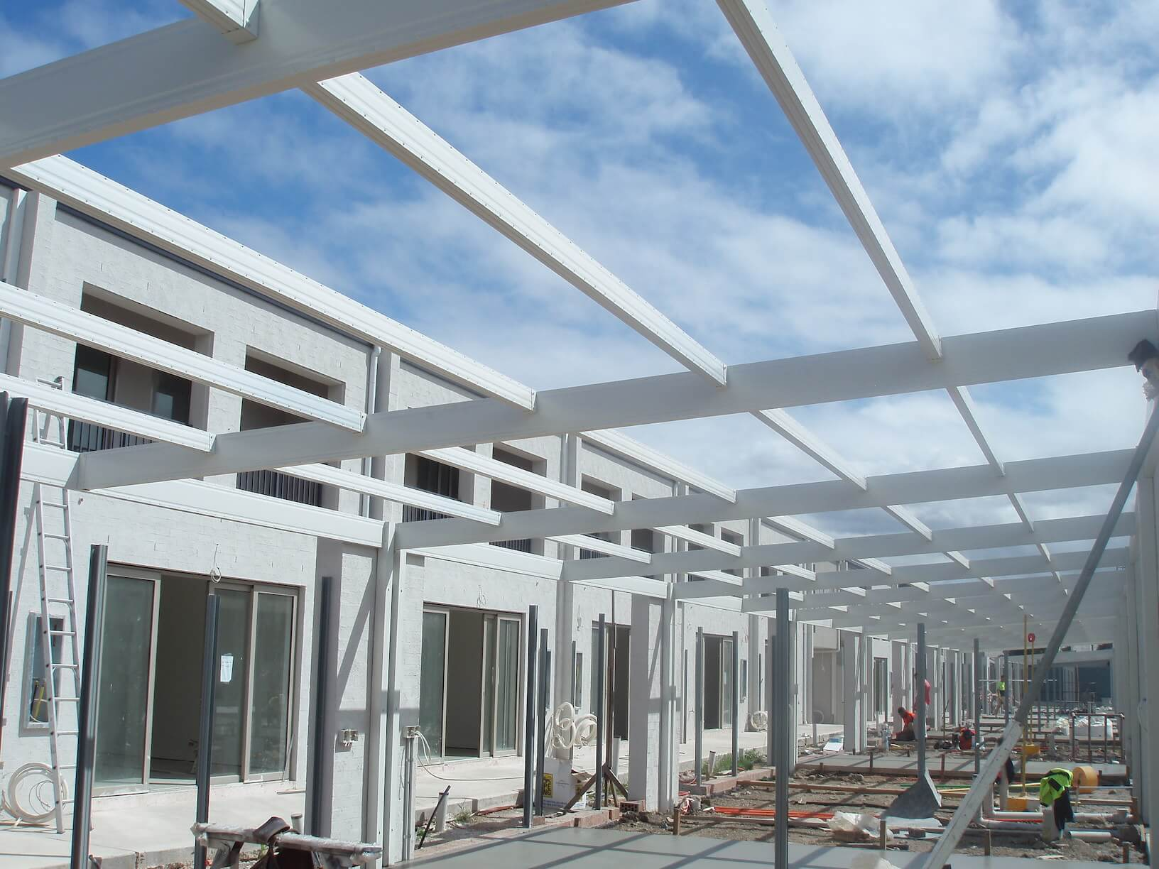 Powder coated Boxspan exposed roof frame