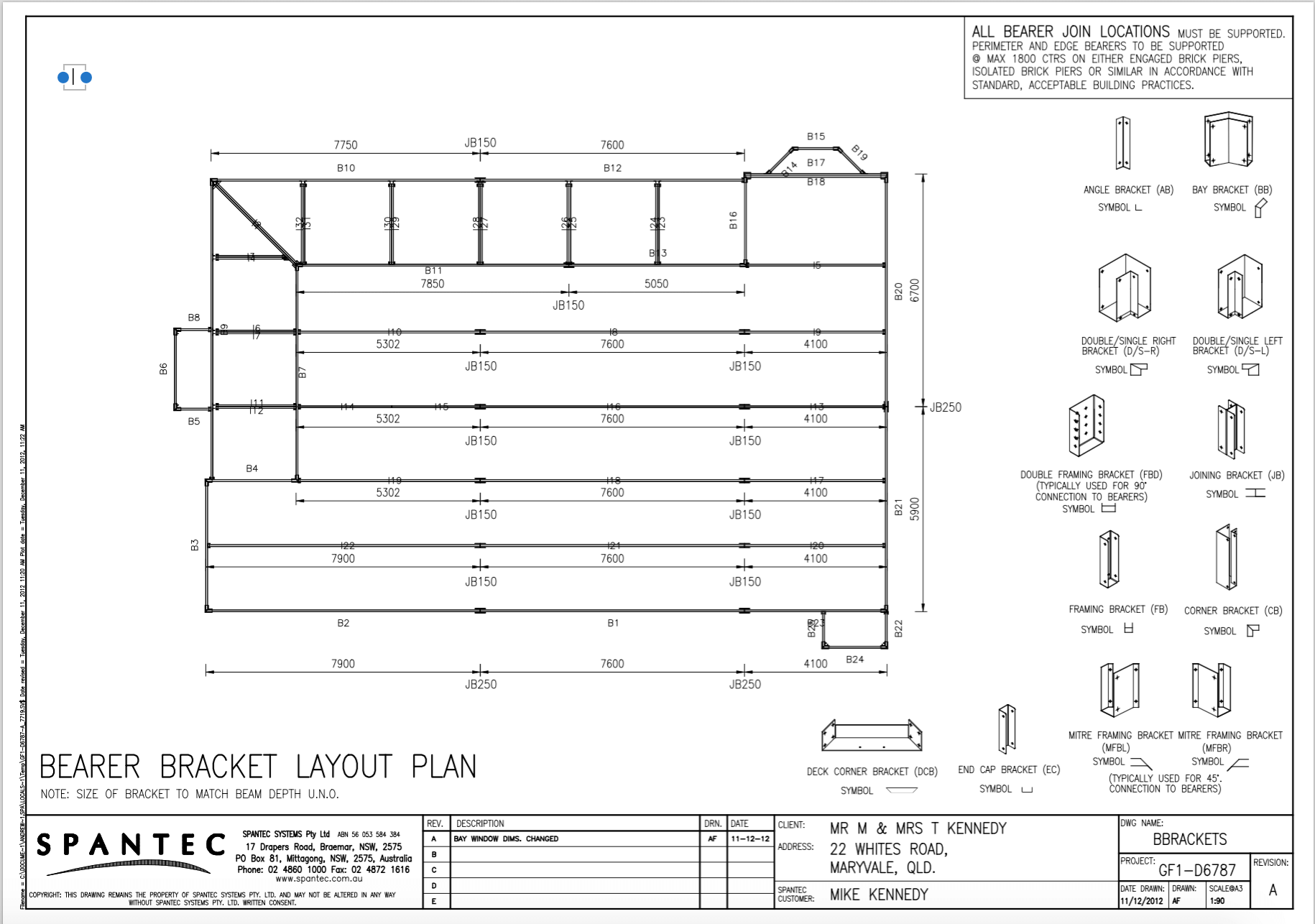 Drawing of a residential steel floor frame bearer bracket layout plan.