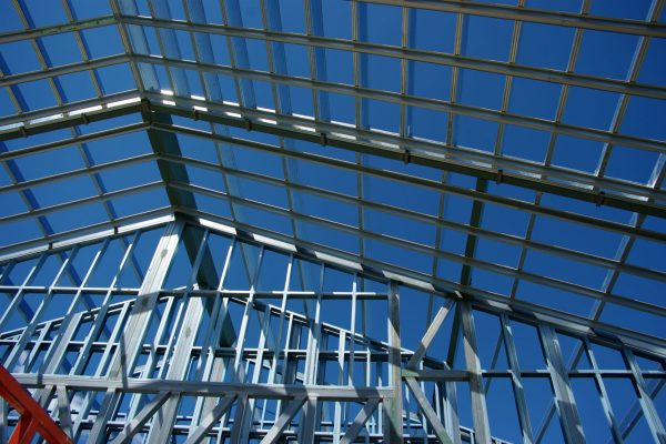 Pitched design commercial roof frame