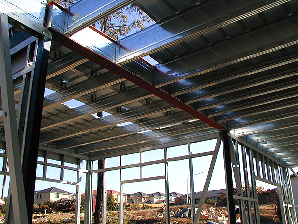 Boxspan upper floor frame with structural steel, liteslab flooring and steel wall framing