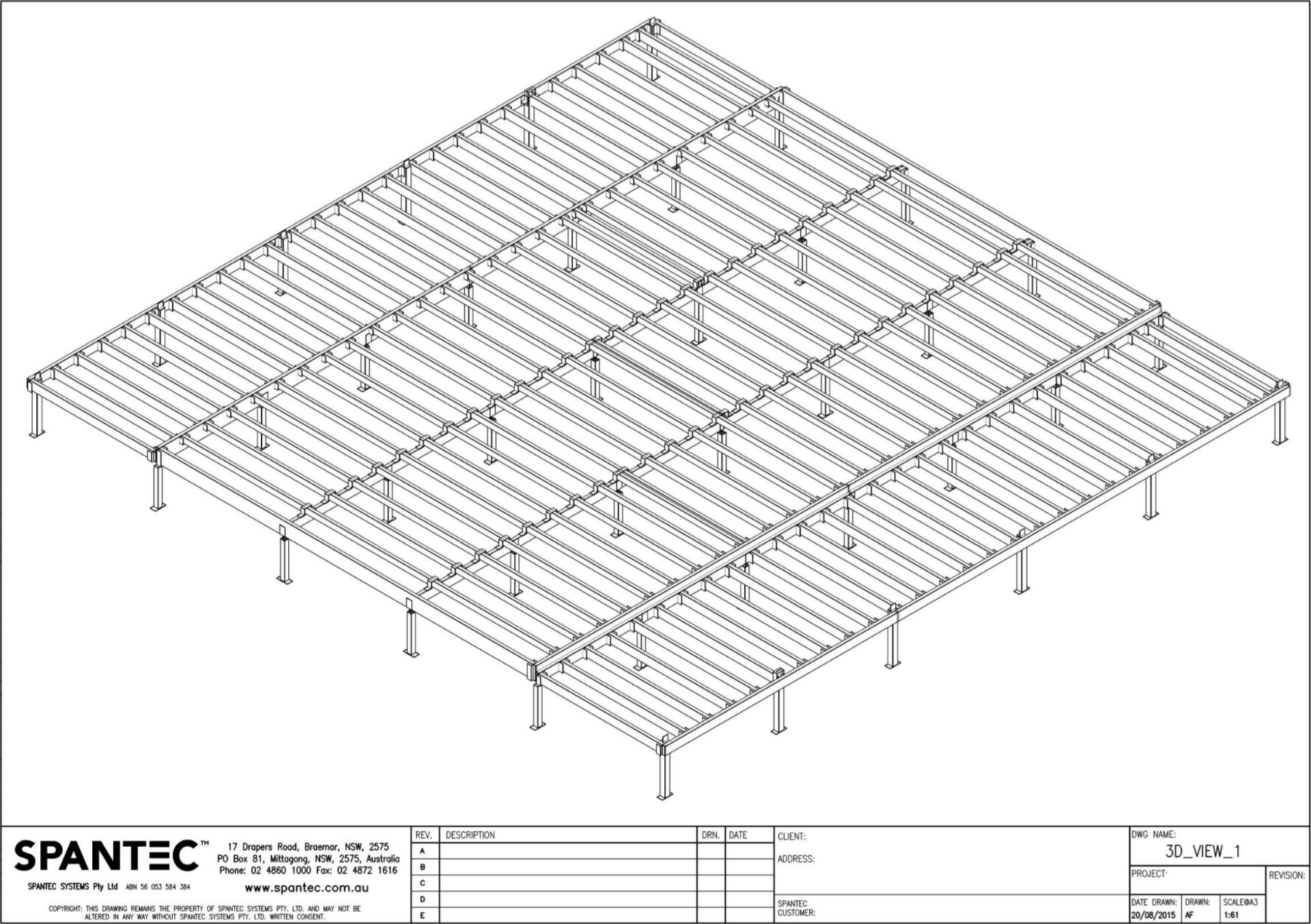 Drawing illustrates a Boxspan floor framing steelfloors and Ezipier in 3D view.