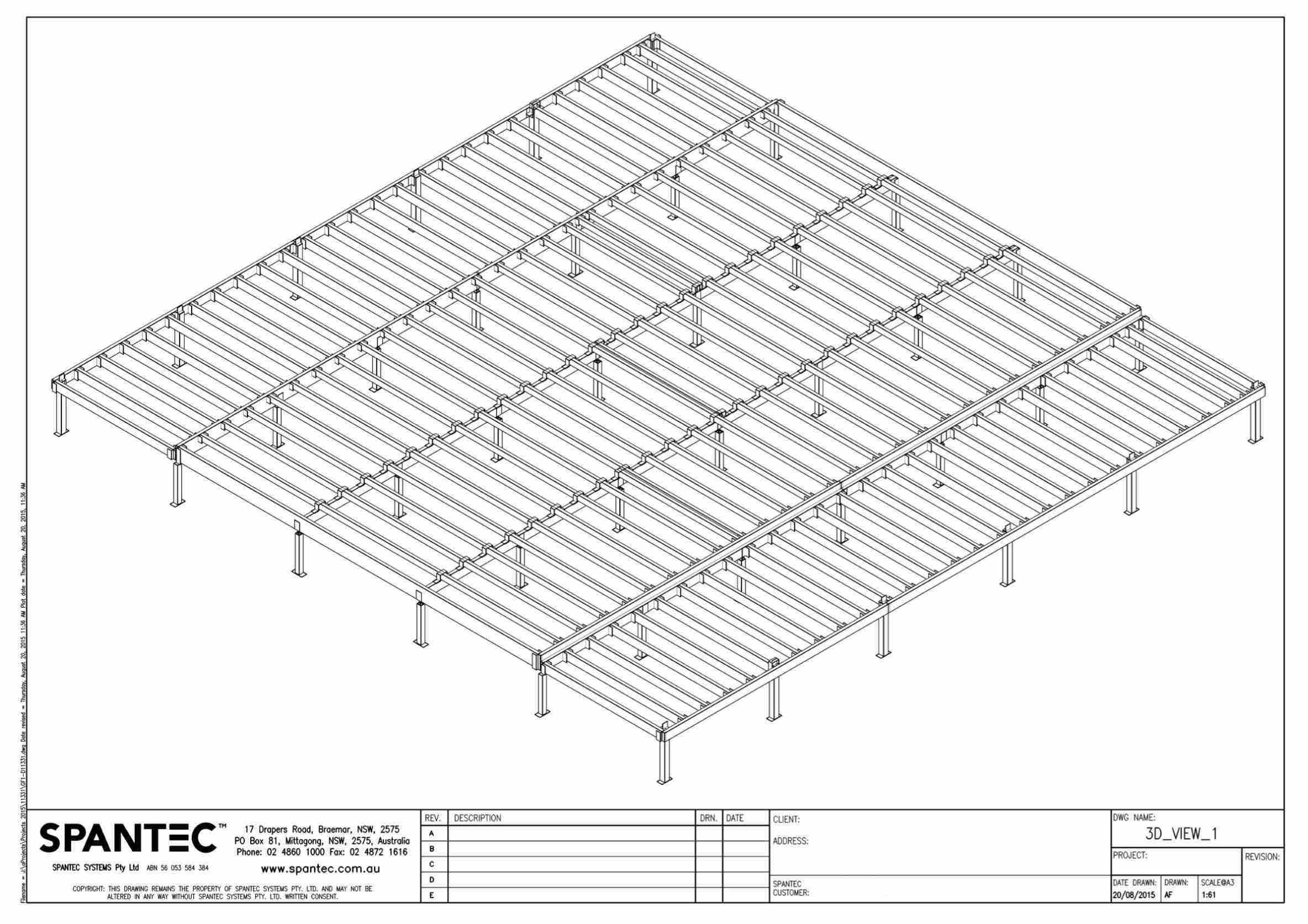 This drawing illustrates a Boxspan floor frame and Ezipier in 3D view.