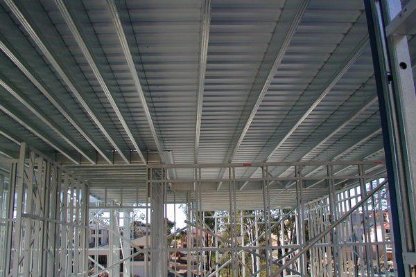 Boxspan upper floor frame supporting liteslab flooring