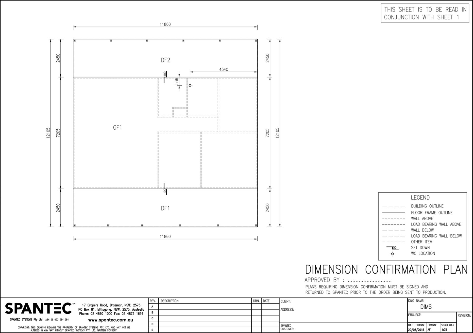 Example of a Dimension Confirmation Plan which details overall dimensions of the steelframes produced using CAD