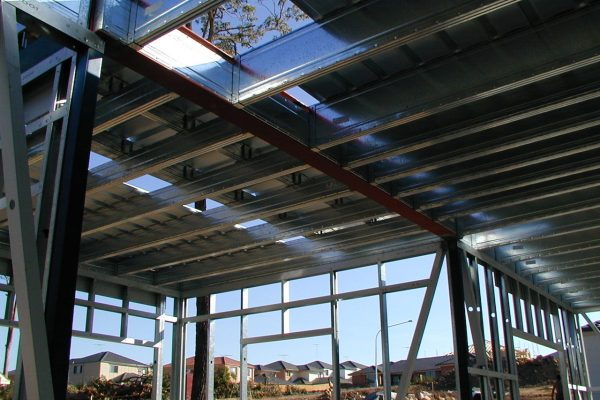 Boxspan upper floor frame and structural steel supporting liteslab flooring