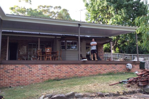 Owner-builder with completed deck in bushfire prone area