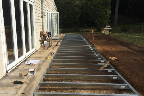 Low-set deck added to existing house