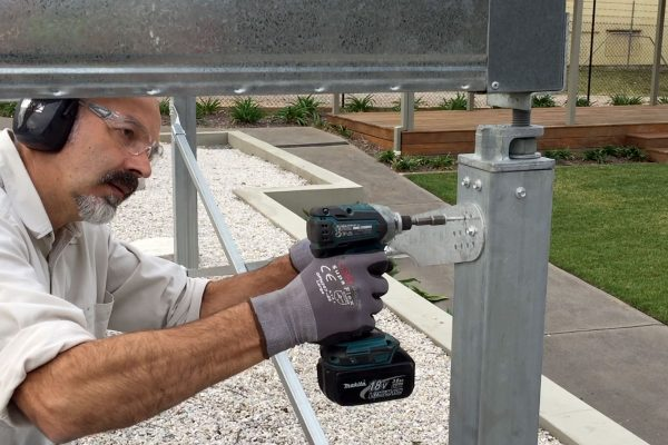 A demonstration of how to fix an Ezibrace paddle to SHS steel posts