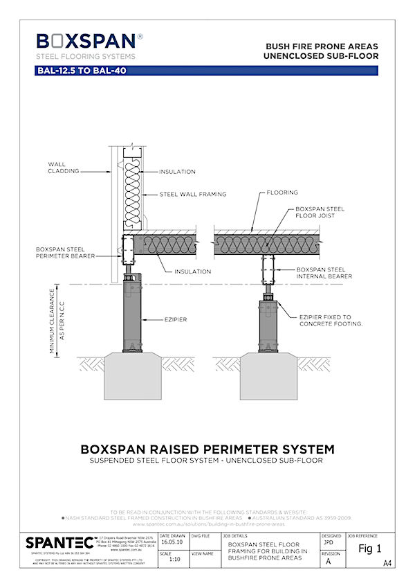 Computer aided drawing of Boxspan residential floor framing raised perimeter system for building in bush fire prone areas