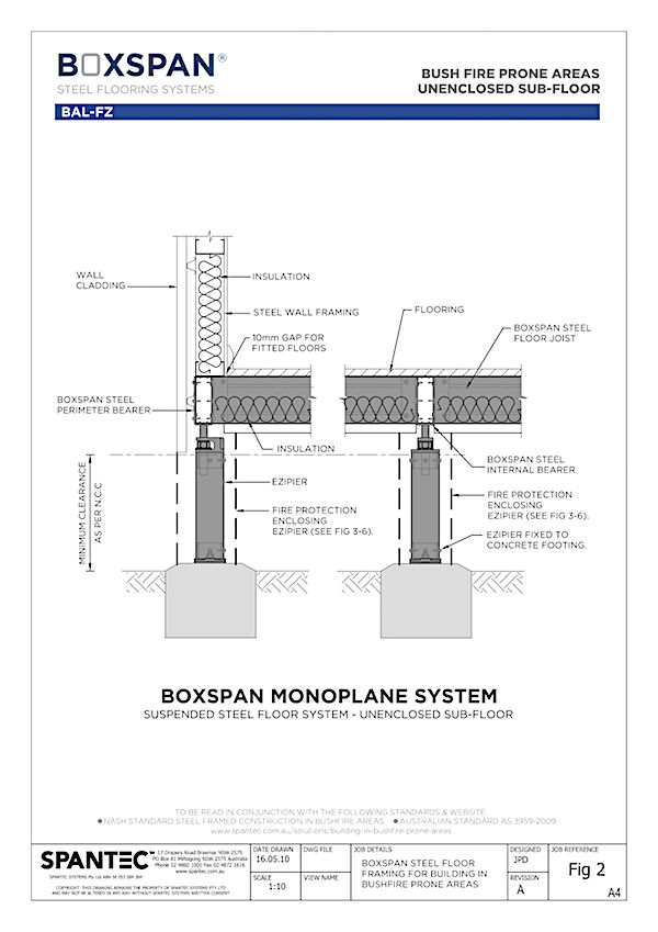 Section view of Boxspan residential floor framing monoplane system for building in bush fire prone areas