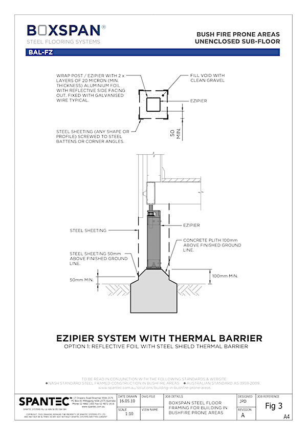 diagram cad drawing of ezipier system for bearers and joists in bush-fire prone regions