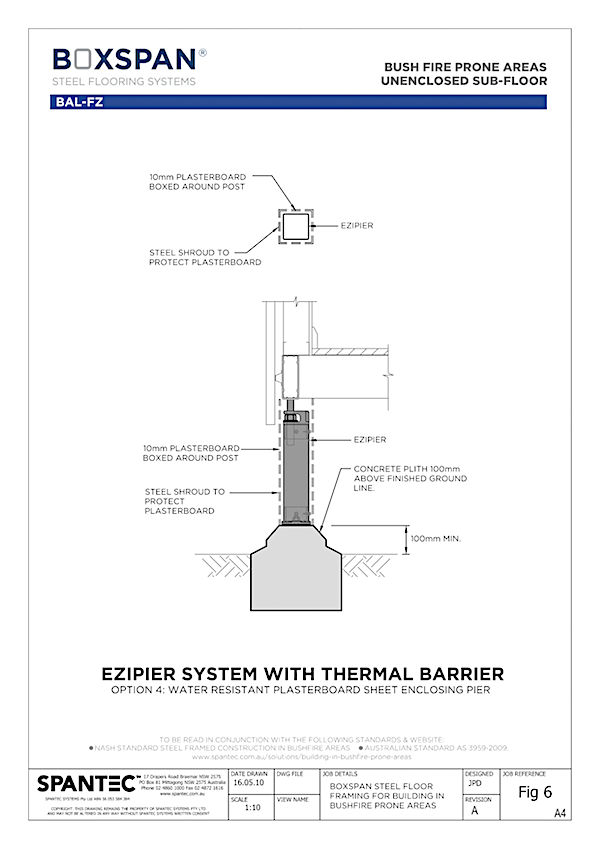 CAD section drawing of Ezipier enclosed in plasterboard for floor systems in bushfire prone areas