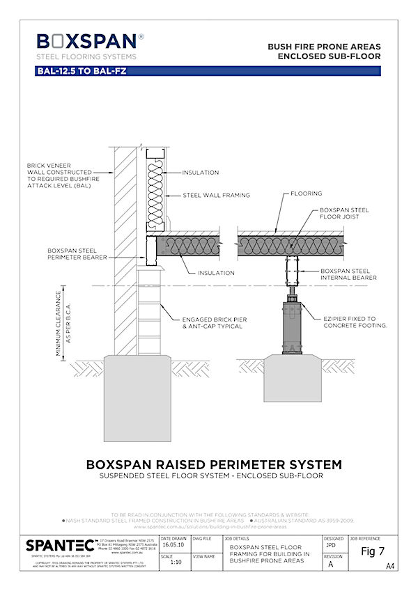 Computer aided drawing of Boxspan residential floor framing raised perimeter system