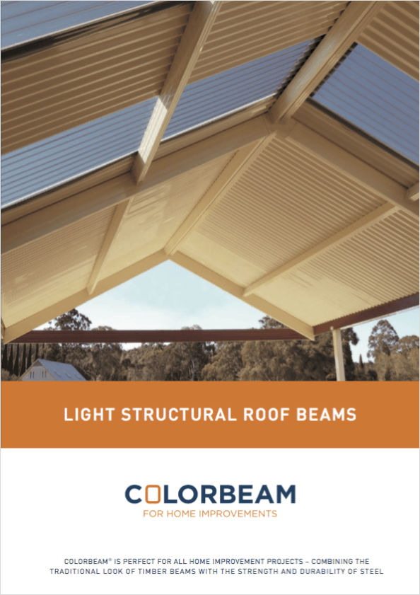 Colorbeam pitched roof awning brochure front page