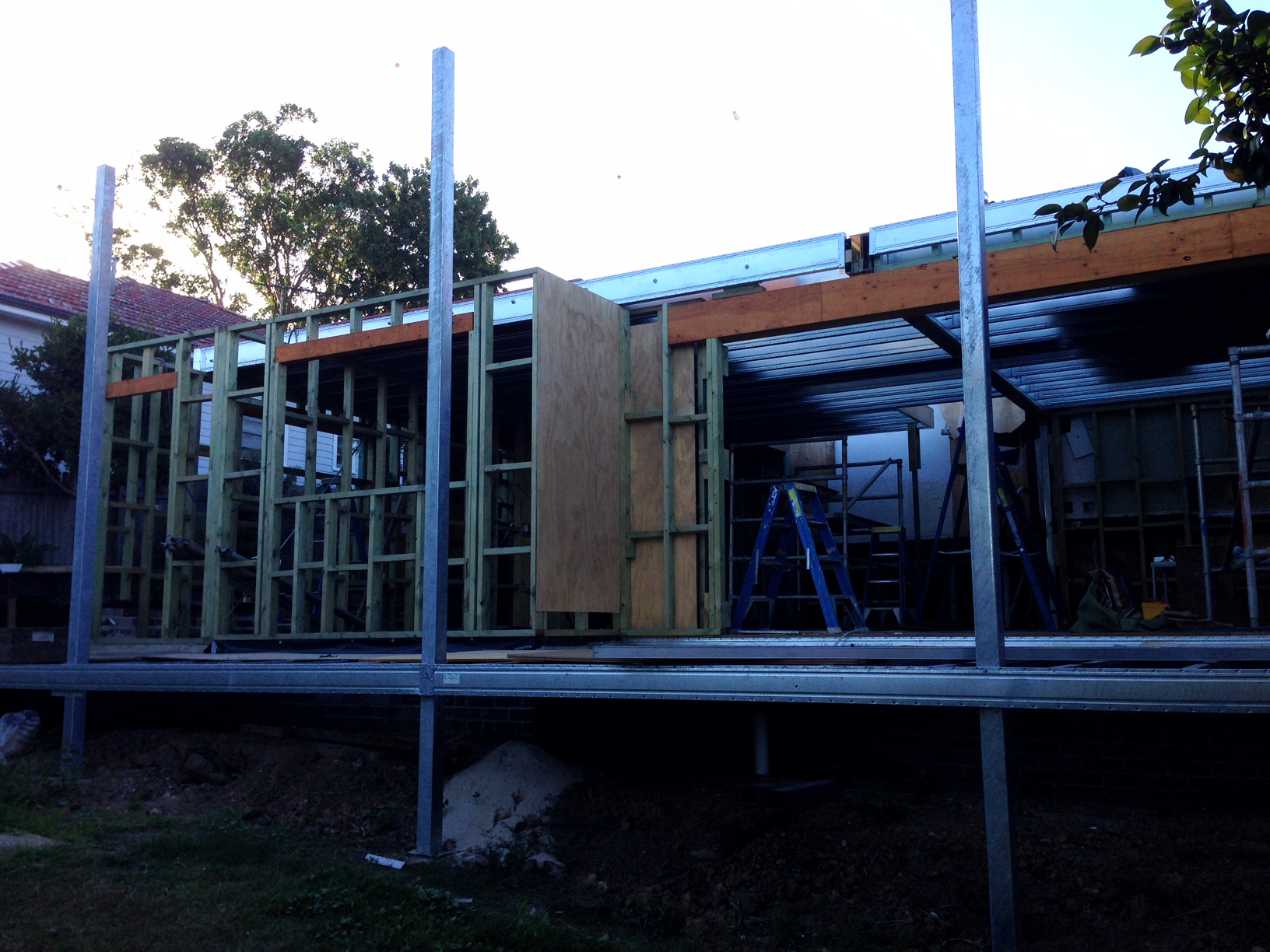 Boxspan ground and upper floor frames with timber wall frames