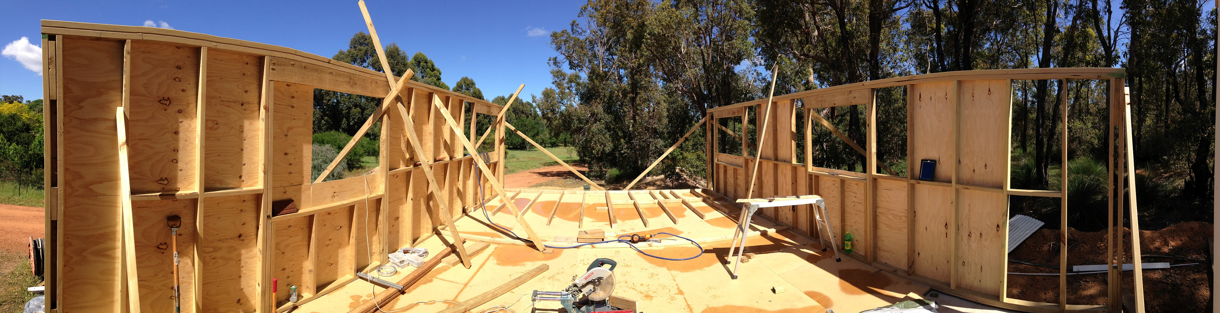 Timber wall and roof frame on Boxspan steel floor frame