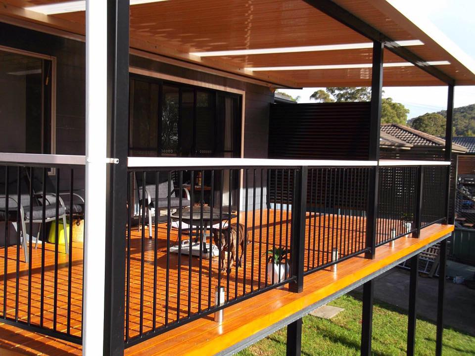 Powder coated pergola over Boxspan deck