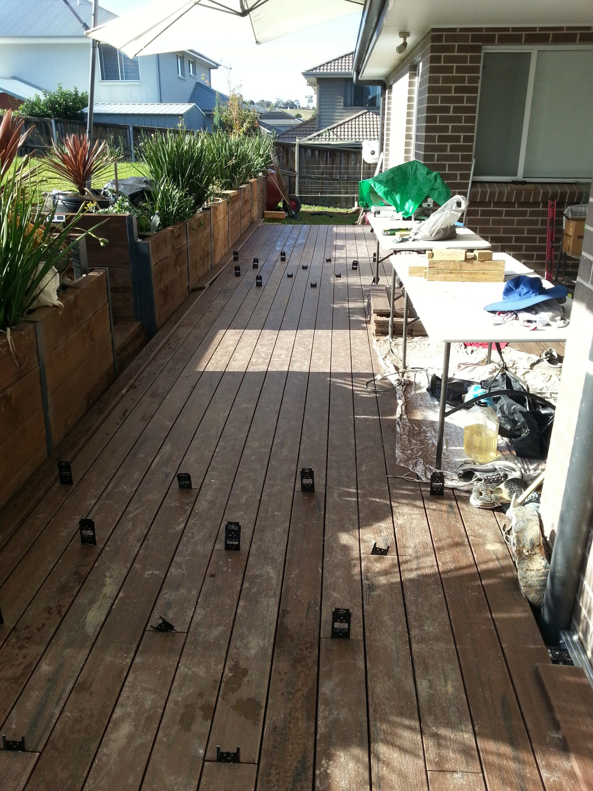 Decking boards over Boxspan deck frame
