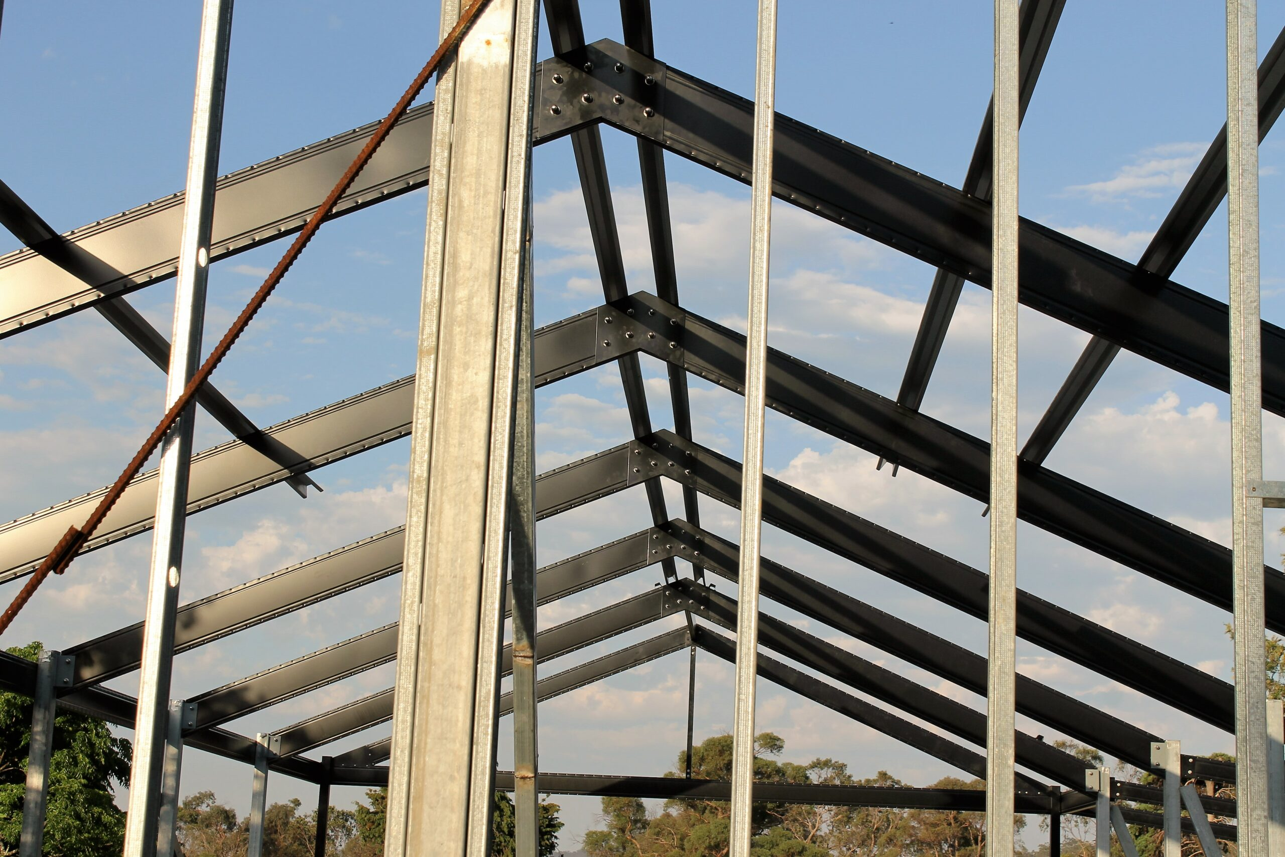 Powder coated Boxspan pitched roof Frame under construction
