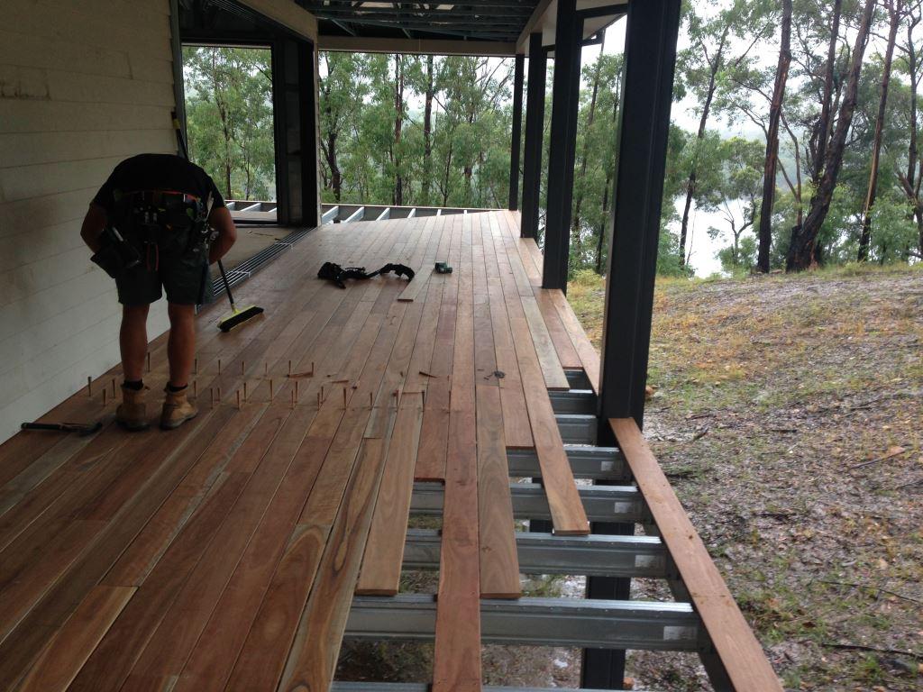 Hardwood timber decking installation over Boxspan steel decking frame