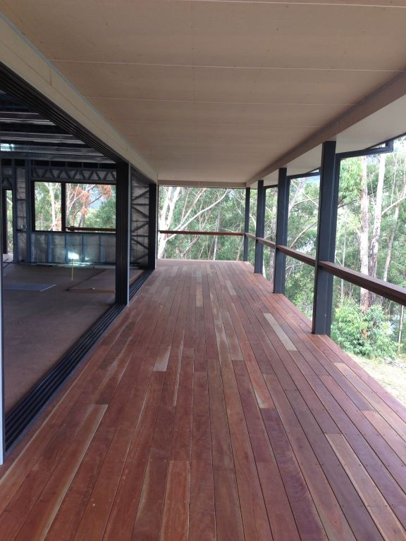 Hardwood timber decking over a steel Boxspan deck frame