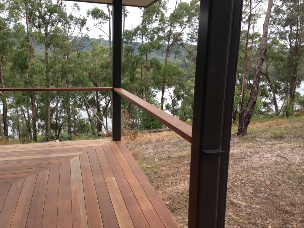 Hardwood timber decking boards over Boxspan steel deck frame