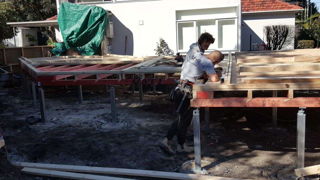 Timber bearers and joists supported by Ezipier stumps for a granny flat.