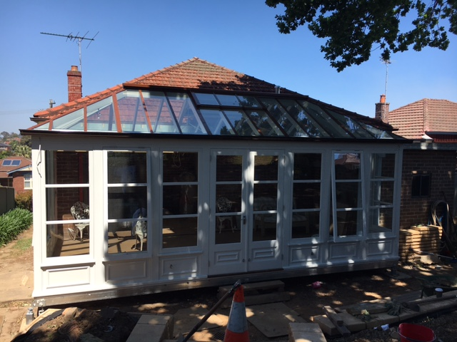 Completed glasshouse conservatory with Boxspan floor frame