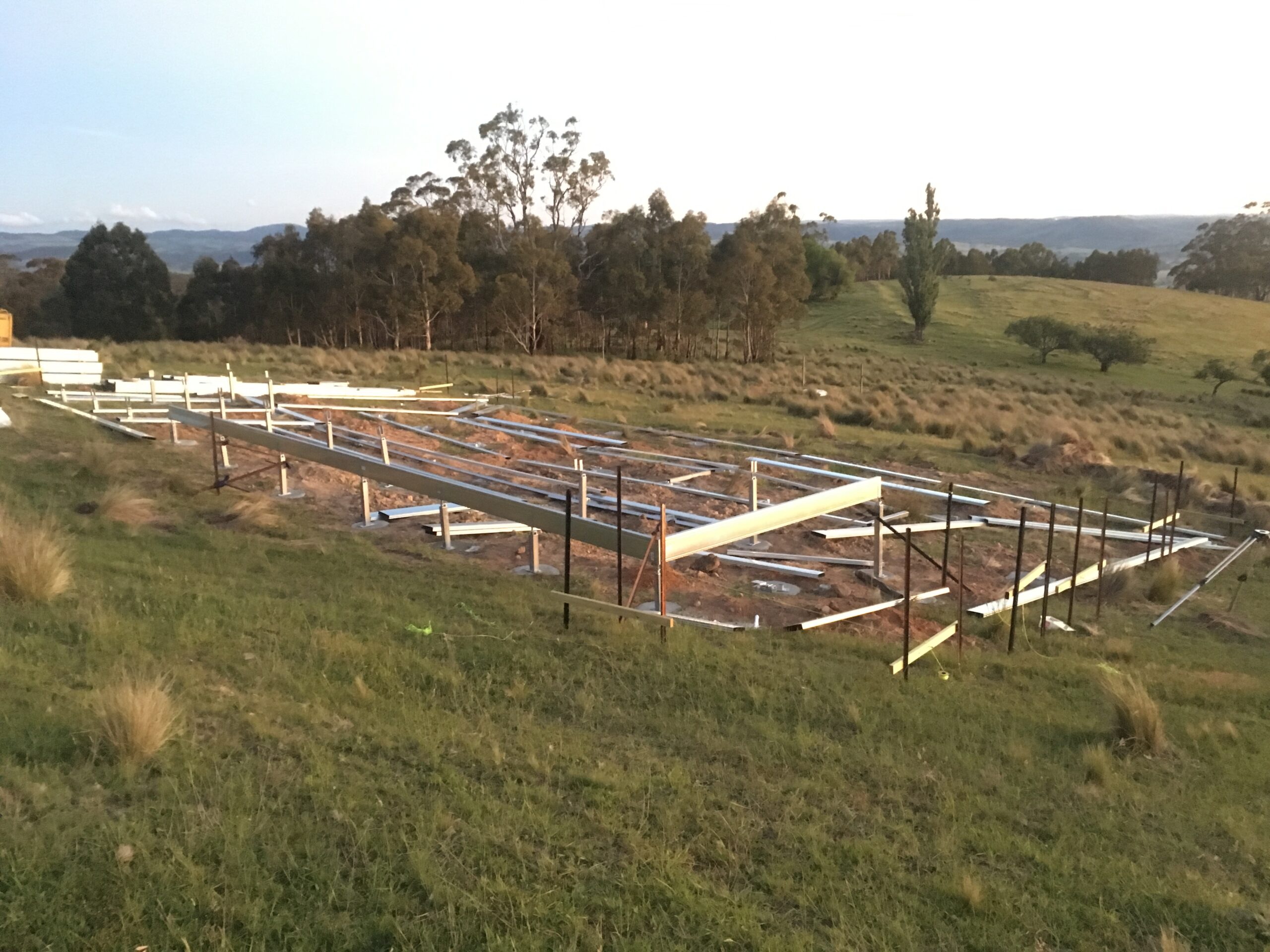 Boxspan floor frame construction by owner builder just started on a sloping site in a bushfire prone rural area