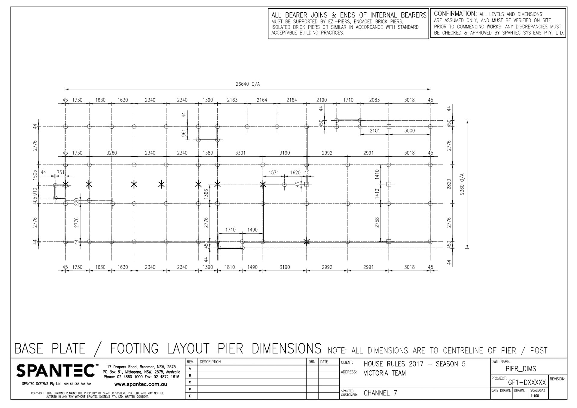9 Pier dimensions